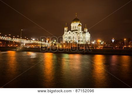 Scenic Night View Of The Cathedral Of Christ The Savior Across The River Moscow