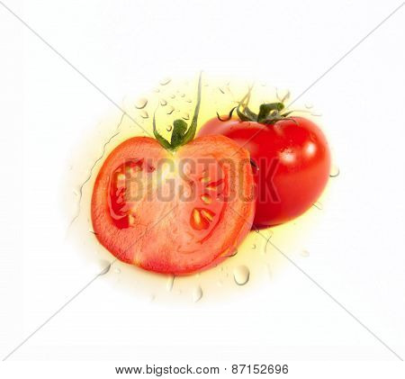 Two red ripe Tomatoes on water drops background isolated over white