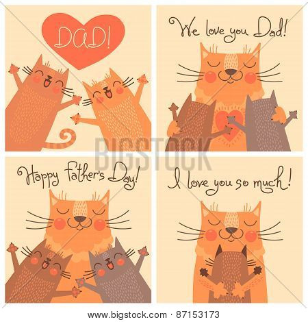 Sweet cards for Fathers Day with cats.