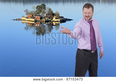 Businessman holding his right hand out, palm up with sea island in background