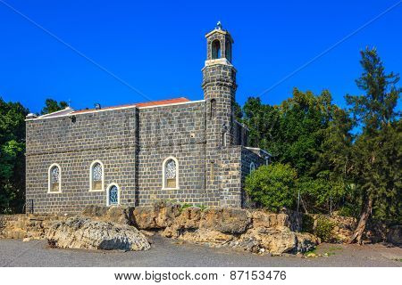 The Church of the Primacy - Tabgha. Jesus then fed with bread and fish hungry people.  The Holy Church was built on the Lake of Gennesaret in Israel