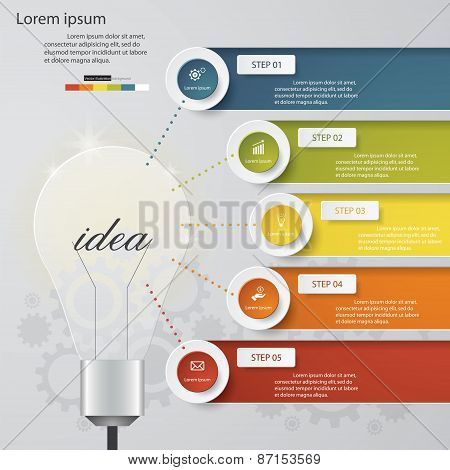 Design Business Chart 5 Steps Diagram in Light Bulb Shape.