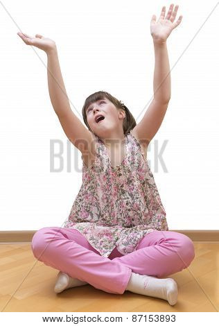 Girl meditating on white background