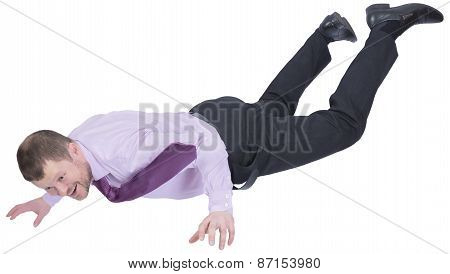 Businessman falling down on white background
