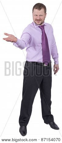 Businessman holding his right hand out, palm up on white background