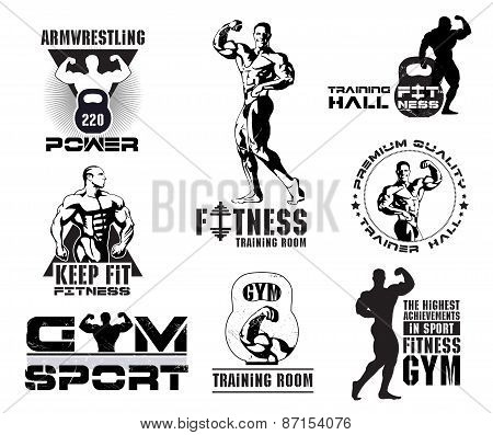 Set of vintage Bodybuilding and fitness room logos, emblems, design elements.