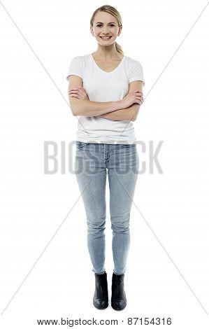 Full Length Portrait Of Beautiful Woman