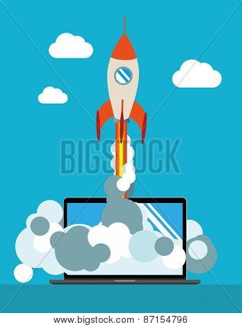 Start Up. Flat design modern vector illustration concept of new business project start-up development and launch a new innovation product