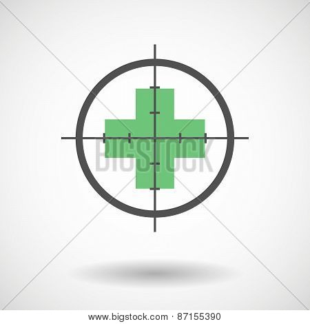 Crosshair Icon With A Pharmacy Sign