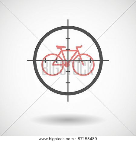 Crosshair Icon With A Bicycle