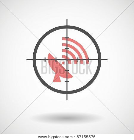 Crosshair Icon With A Satellite Plate