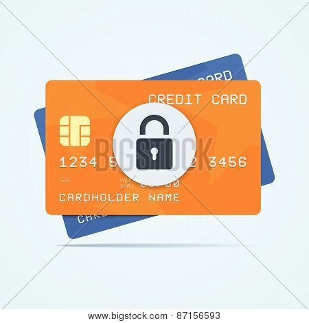 Credit cards with padlock for a security payment.