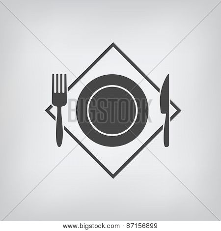 Black Restaurant Menu Icon. Plate, Fork, Knife Isolated