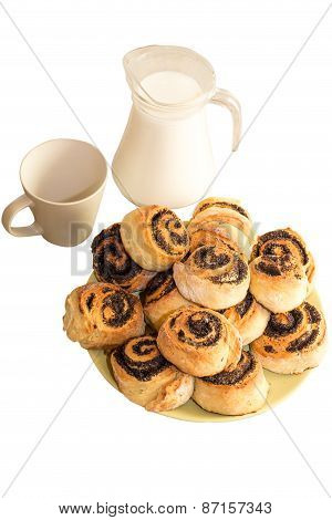 Bread with poppy seeds and milk