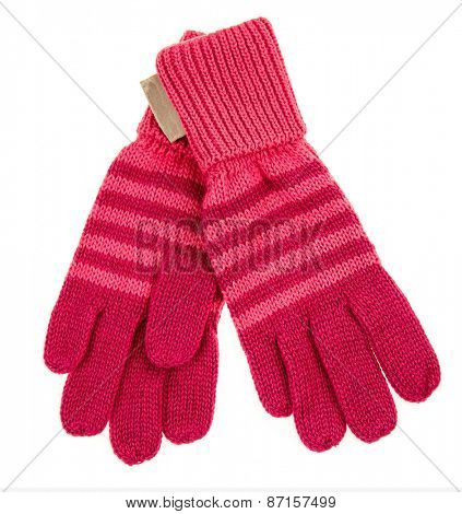 knitted woolen baby gloves, on white