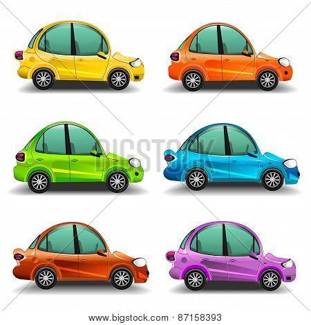 Colorful cartoon cars illustration