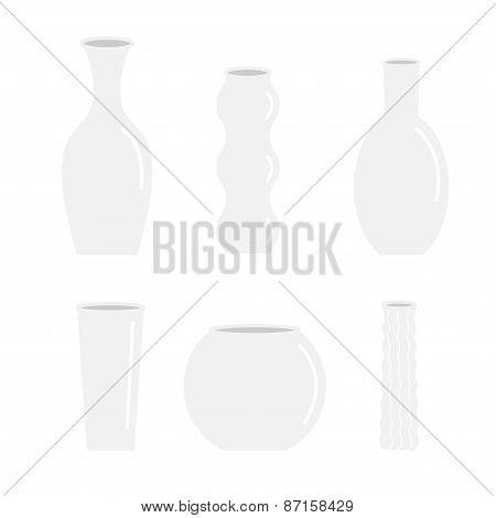 Vase  Icon Set Ceramic Pottery Glass Flower Decoration Isolated Flat Design