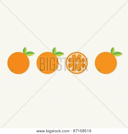 Orange Fruit Set With Leaf In A Row. Cut Half Healthy Lifestyle Background. Flat Design.