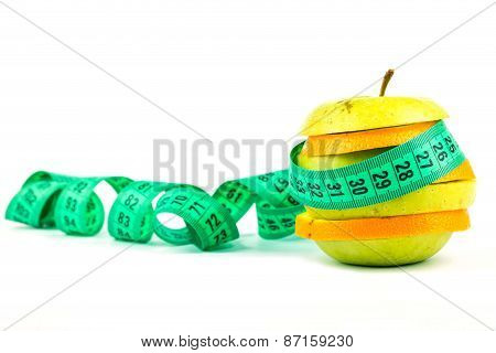 Slices Of Apple And Orange With A Meter