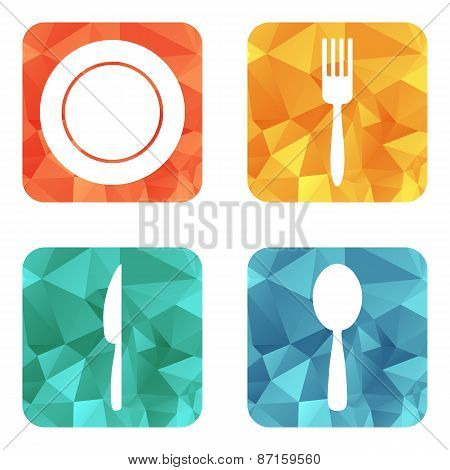 Flat Restaurant Menu Icons. Plate, Spoon, Fork, Knife