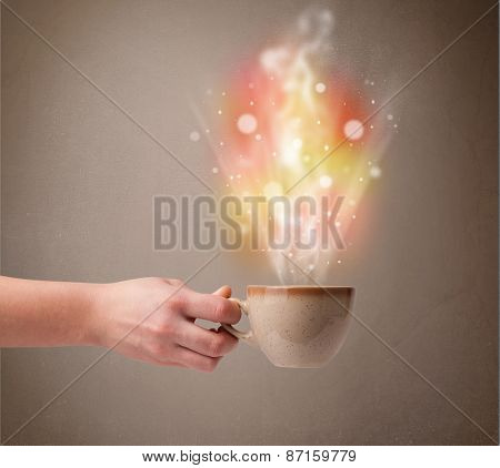 Coffee mug with abstract steam and colorful lights, close up