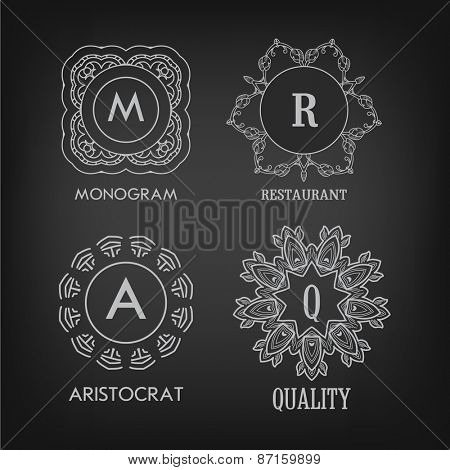 Set of luxury, simple and elegant monogram designs templates with copy-space for text on chalkboard background. . Good for labels. Vector illustration.