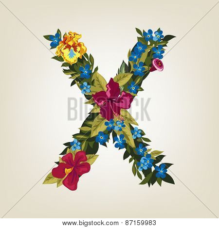 X letter. Flower capital alphabet. Colorful font. Uppercase.  Vector illustration.
