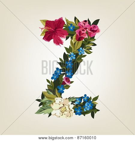 Z letter. Flower capital alphabet. Colorful font. Uppercase.  Vector illustration.