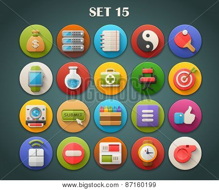 Round Bright Icons with Long Shadow Set 15