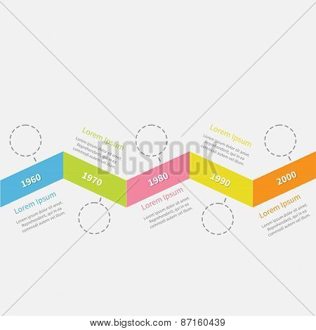 Timeline Infographic Zigzag Ribbon Dash Line Circles And Text. Template. Flat Design.