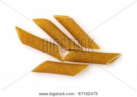Wholegrain Pasta - Macaroni  Isolated On White Background