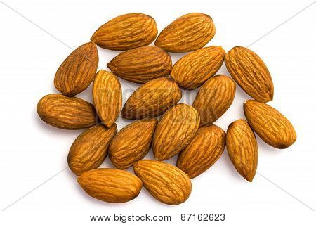 Group Of Almond Nuts Isolated On White Background