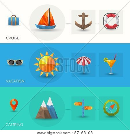 Travel Polygonal Banners