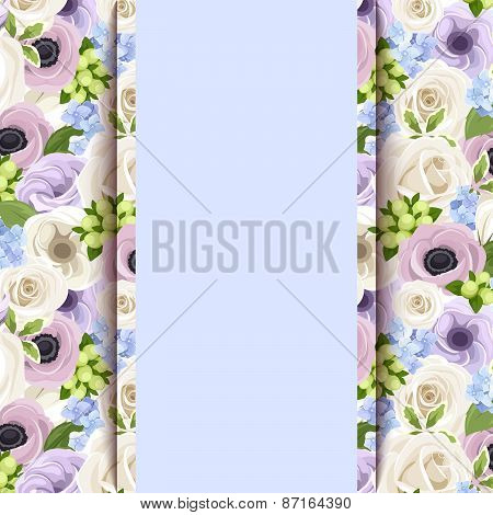 Vector blue card with roses, lisianthuses, anemones and hydrangea flowers.