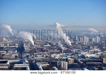 YEKATERINBURG, RUSSIA - JANUARY 2, 2015: Aerial view to the city in a winter day. Yekaterinburg is the most compact city with 1 million and more inhabitants in Russia with the built area 20 x 15 km