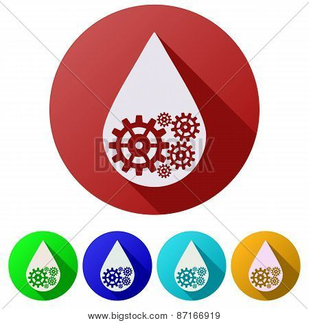Set Flat icons of oil industry drop symbol with gears cogs