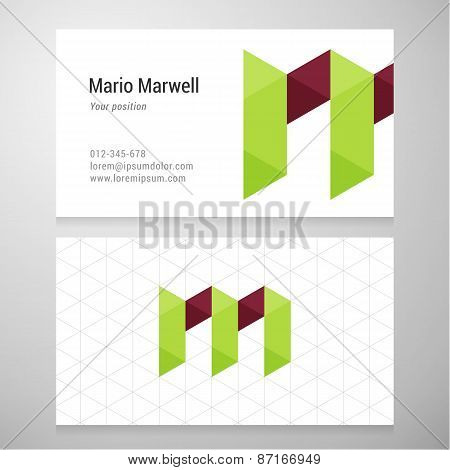 Modern Letter M Origami Business Card Template
