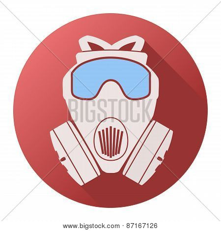 Flat icon of gas mask respirator.