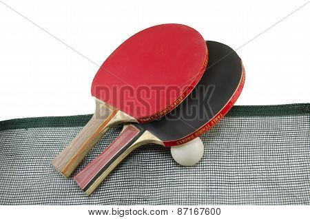 Red And Black Table Tennis Racquets On White