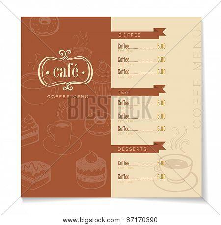 Coffee menu template for a coffeehouse, restaurant or a bar.