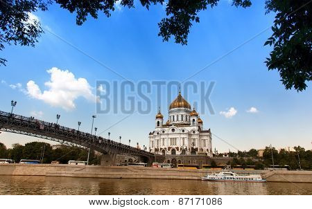 View Of Cathedral Of Christ The Saviour And Patriarshy Bridge In The Sunny Summer Day, Moscow, Russi