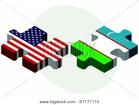 Usa And Uzbekistan Flags In Puzzle