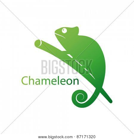 Vector illustration of a silhouette of a chameleon