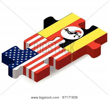 Usa And Uganda Flags In Puzzle