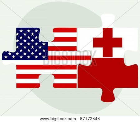 Usa And Tonga Flags In Puzzle