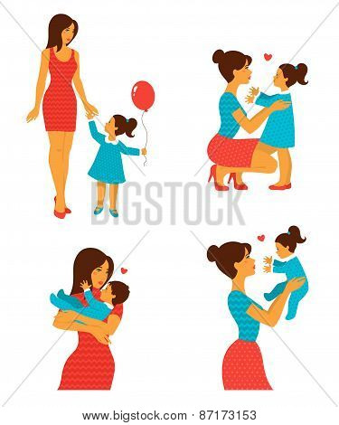 Happy cheerful family. Vector illustration.