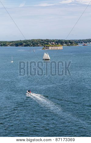 Yachts And Sailboats Near Portland Fort