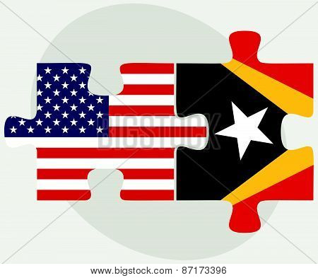 Usa And Timor-leste Flags In Puzzle