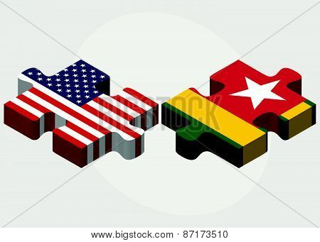 Usa And Togo Flags In Puzzle