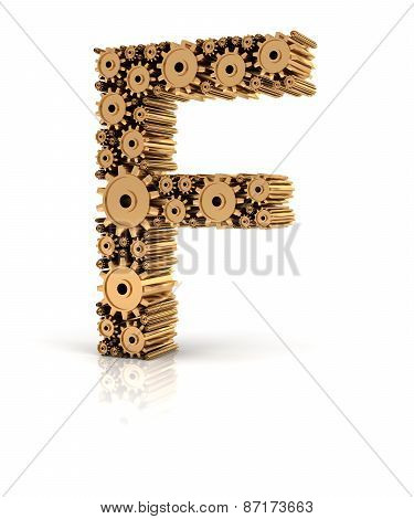 Alphabet F formed by gears